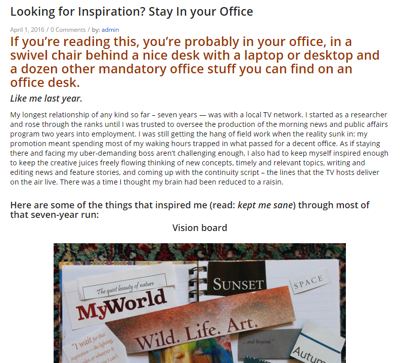 Looking for Inspiration? Stay In your Office