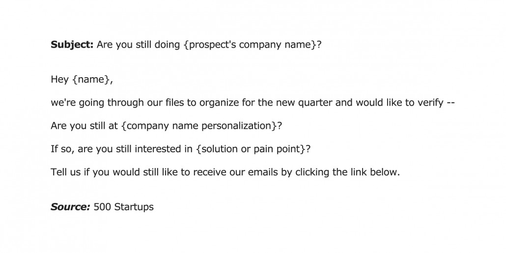 500 Startups E-mail template